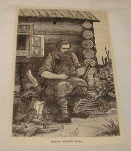 1887-Rivista-Incisione-Rendendo-di-Legno-Scarpe-Nizhny-Russia