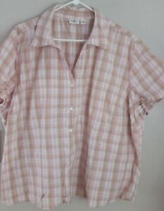 0d4e8f65355 Cato Pink   Brown Plaid Short Sleeve Button Shirt Plus size 22 24W ...