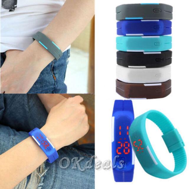 Fashion Womens Mens Silicone Digital LED Sports Touch Bracelet Wrist Watch