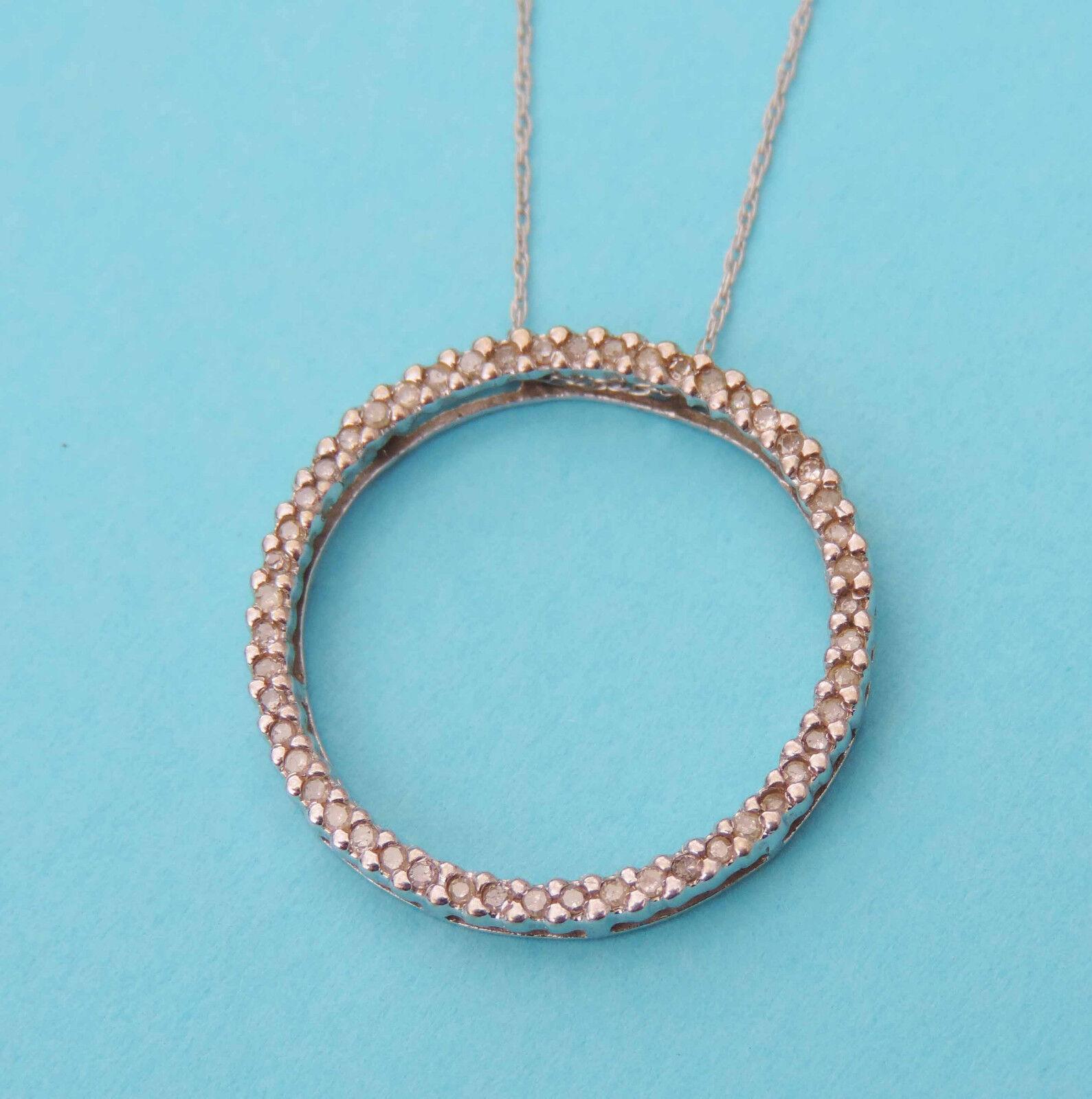 Ladies Circle Pendant w  50 Genuine Diamonds - 10k White gold - 18 Inch Chain