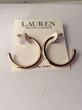 38 Ralph Lauren Gold Tone Sleek Hoop Earrings Item 60a