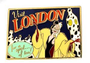 Le 100 Disney Auction Pin 101 Dalmatians Cruella London Postcard Tea Big Ben Ebay