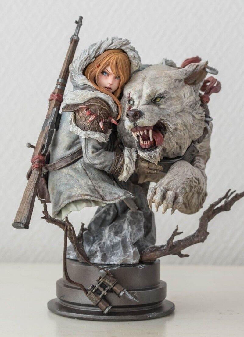Resin Figure Kit Girl with Wolf Unpainted Garage Model Kit GK Statue