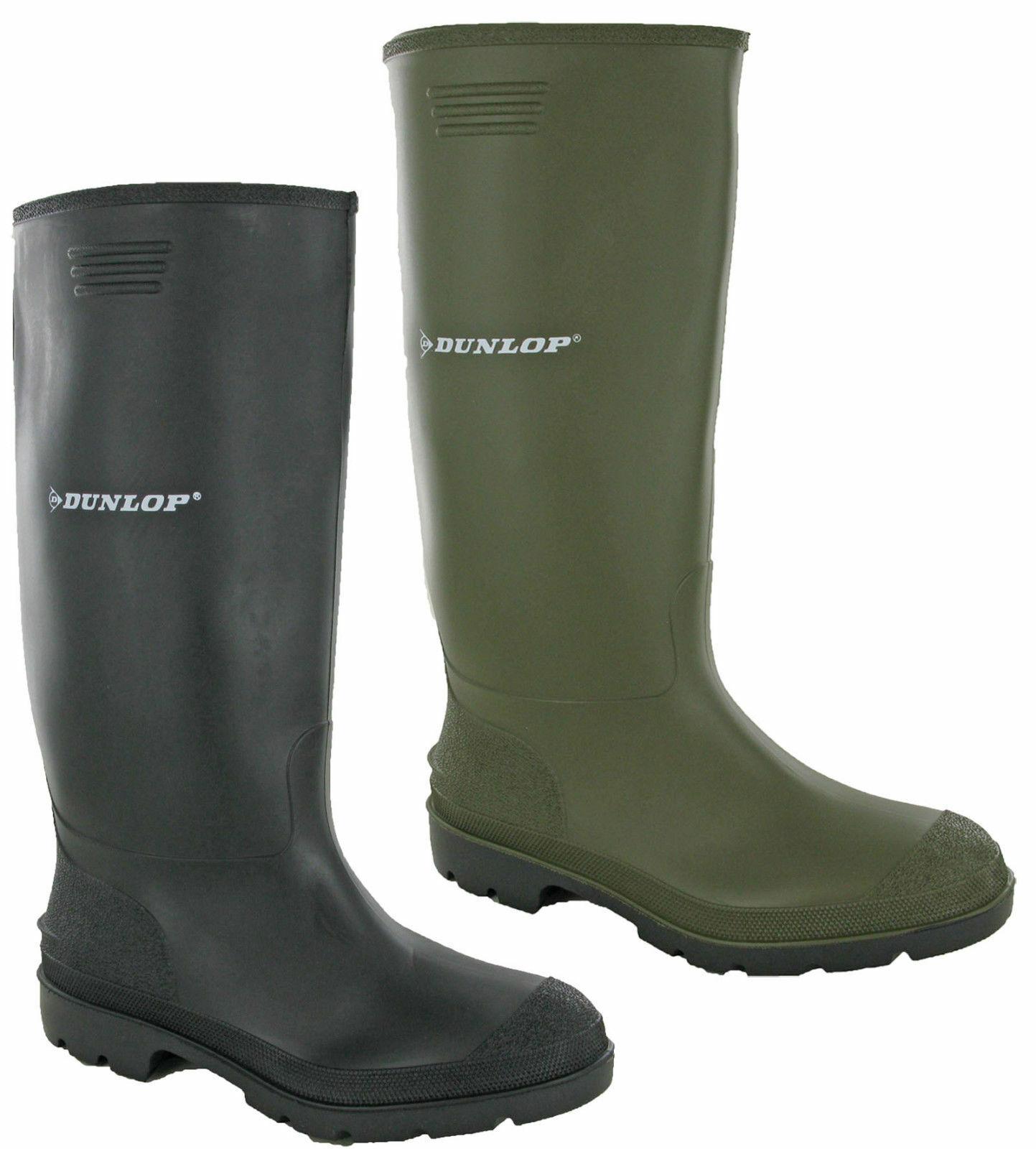 Dunlop Mens Rubber Wellington Boots Pricemastor Wellies Snow Black Green UK 6-12