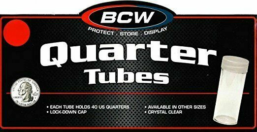 25 New BCW Round Penny Cent Clear Plastic Coin Storage Tubes w// Screw On Caps