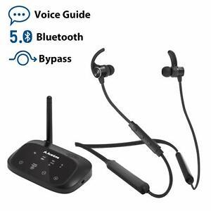 Wireless-Neckband-Earbuds-Earphones-Set-w-Bypass-Bluetooth-Transmitter-for-TV-PC