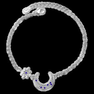 Solid-925-Sterling-Silver-Blue-Zircon-Moon-Star-Couple-Bracelet-Jewelry-Gift