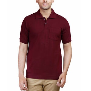 Fleximaa men 39 s polo collar t shirt with pocket maroon for Men s cotton polo shirts with pocket