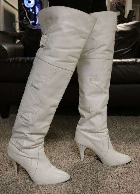Poppies brand Thigh High White Leather Stiletto Heel Vintage Boots Size 10