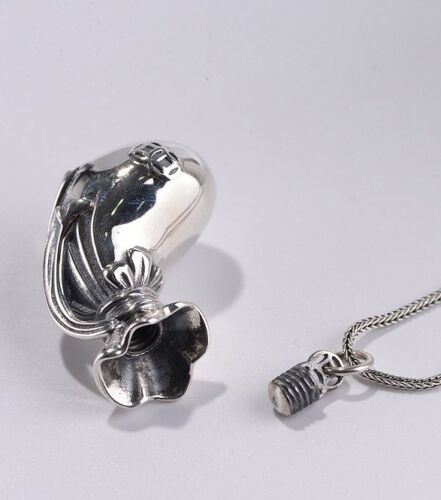 925 sterling Silver pendant charm Cremation jewelry Capsule ash urn holder S2746