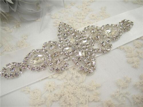 Gorgeous Beaded Bridal Applique Diamante Motif Rhinestone Pearl Wedding Applique