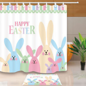 Exceptionnel Image Is Loading Hand Drawn Colorful Easter Rabbit Bathroom Shower Curtain