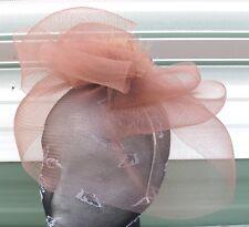 brown tan feather fascinator millinery burlesque headband wedding hat race ascot