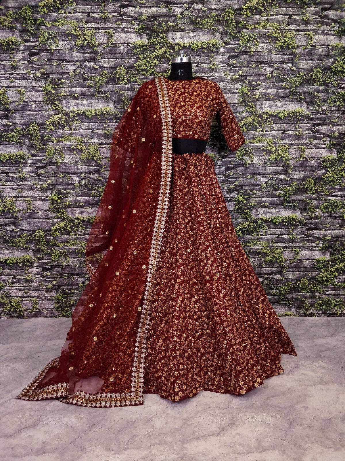 Raw Silk Maroon Indian Latest Trendy Cultural Lengha Choli Embroidery Lehenga