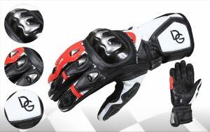 Deba® Motorradhandsc<wbr/>huhe echtes Rindsleder Gloves mit Protektoren aus Titanium