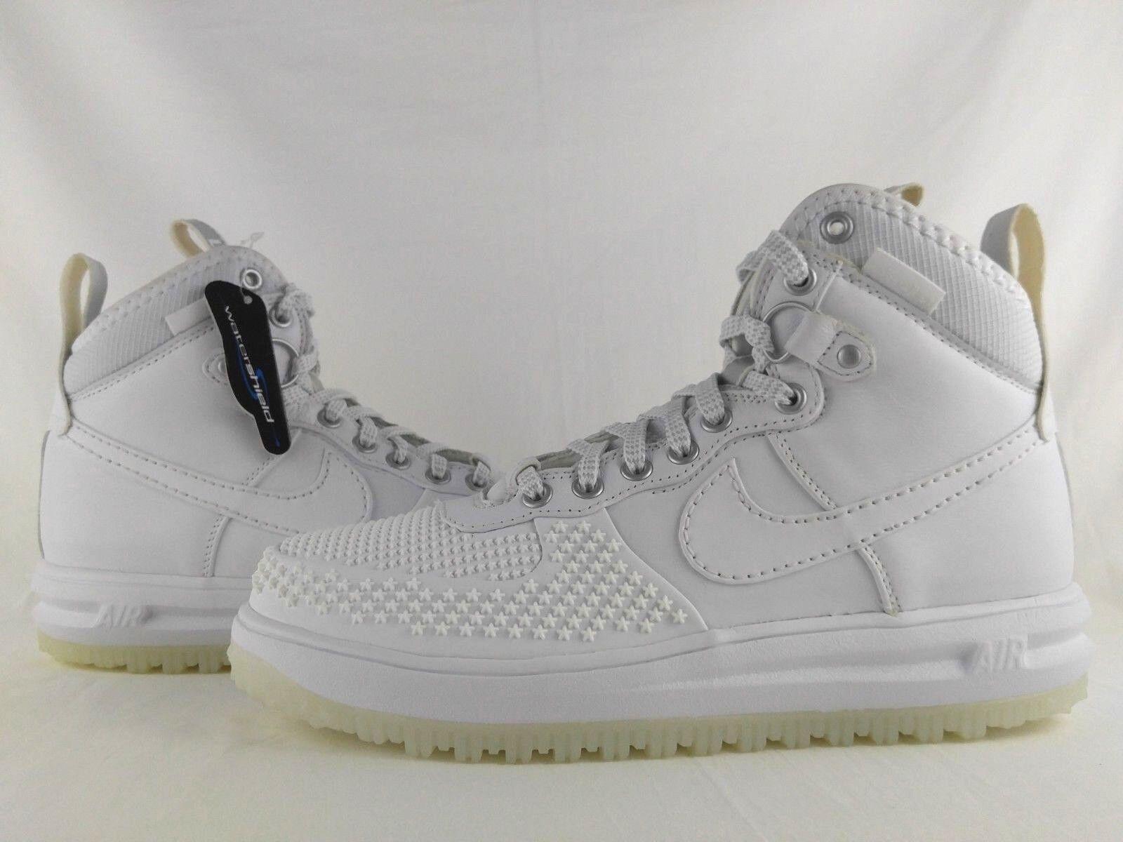 Nike Lunar Force 1 LF1 Duckboot Triple White Sneaker Boot Waterproof 805899-101