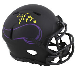 Vikings Justin Jefferson Authentic Signed Eclipse Speed Mini Helmet BAS Witness