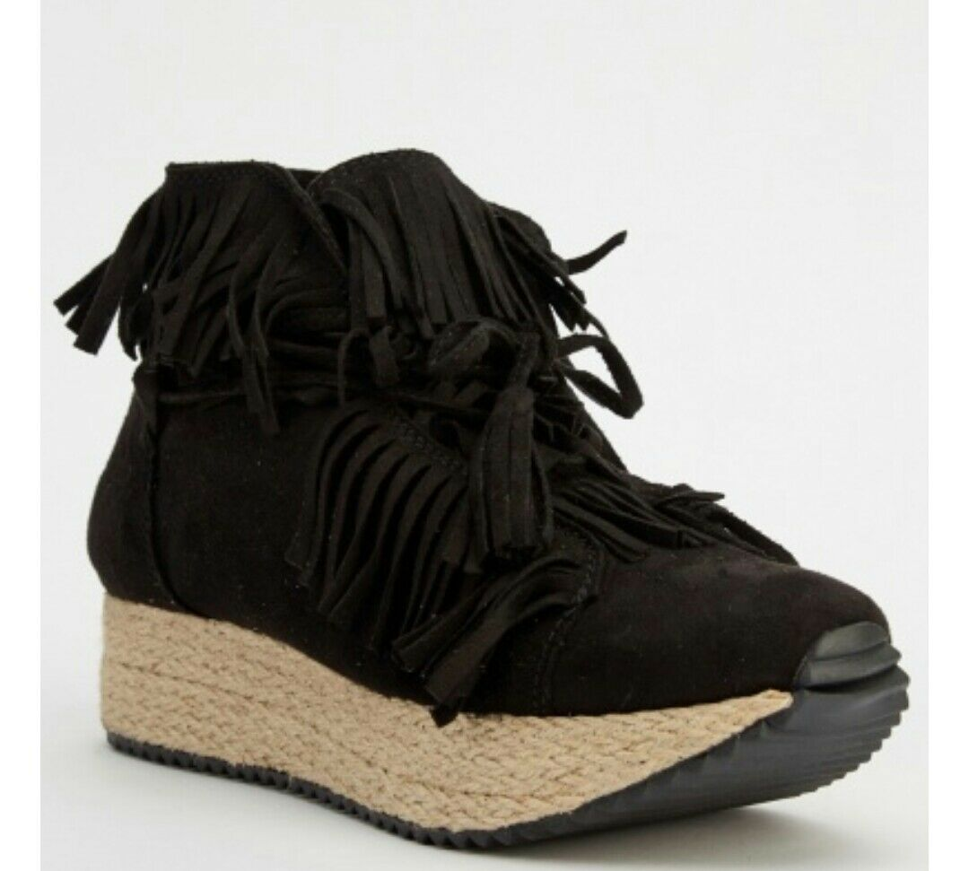 Women's Black Suedette Fringed Flatform Wedge Trainers Boots Shoes Sz 8 BNIB