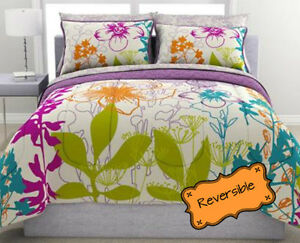 Twin 5-PC Multi Colorful Floral Reversible Purple Print Comforter Set w Sheets