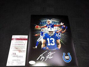 JSA COA /& Holo TY Hilton Colts Autographed Signed Logo Football