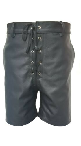 Mens Bondage SHORTS Real Black LEATHER with LACED FRONT