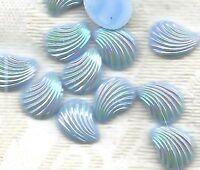 Light Sapphire Vintage Glass Shell Cabochon