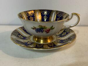 Vintage-English-Paragon-Porcelain-Cup-amp-Saucer-Cobalt-Gold-amp-Fruit-Decoration