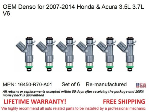 6 Fuel Injectors for 2007-14 Honda /& Acura 3.5L 3.7L V6 OEM Denso #16450R70A01