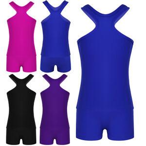 Girls-Sports-Dance-Outfits-Crop-Top-Shorts-Leotard-Gymnastics-Dancewear-Swim-Set