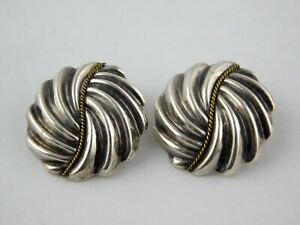 Vintage-Taxco-Mexico-Sterling-Silver-Swirled-Shape-Clip-On-Earrings-925