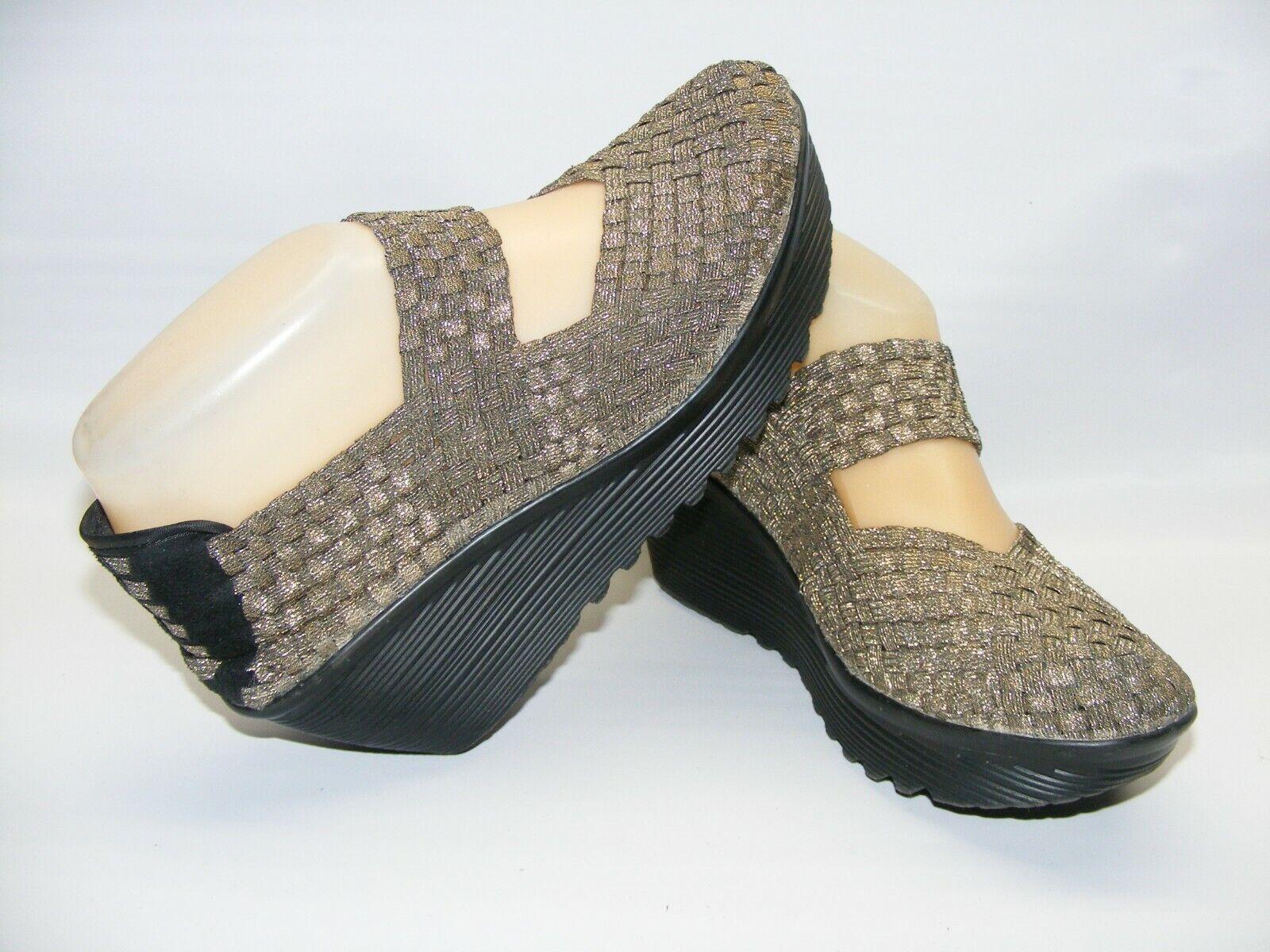 St Johns Bay Women's 6.5 M Woven Gold Bronze Slip On Shoes 2.5