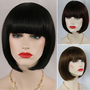 HD-CO-Women-039-s-Fashion-Short-Straight-Bobo-with-Bangs-Full-Cosplay-Party-Exten