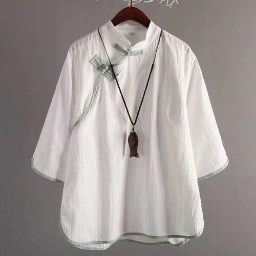 Lady Linen Loose T Shirt Vintage Frog Button Mandarin Collar Top Chinese Modern