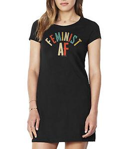 Ladies T-Shirt Dress Summer FEMINIST AF Slogan Gift Womens Fashion