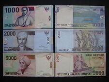 INDONESIA  1000 + 2000 + 5000 Rupiah 2004-09  (P141e + P148a + P149a)  UNC