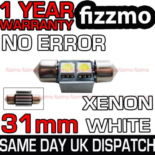 31mm 2 SMD LED 269 C5W CANBUS ERROR WHITE INTERIOR LIGHT HEAT SINK FESTOON BULB