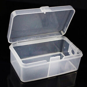 2x-Mini-Plastic-Clear-Transparent-With-Lid-Collection-Container-Case-Storage-Box