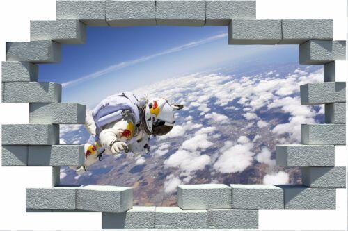 3D Broken Brick Space Skydive Sticker Wall Poster Vinyl GA16-386