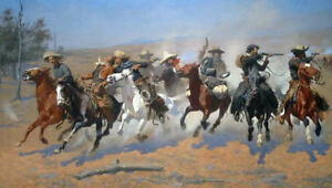 A-Dash-For-The-Timber-by-Frederic-Remington-Oil-Painting-Reproduction-36-034-x-20-034