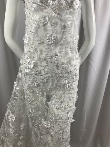 Embroidered Flower Mesh /& Pearls Lace Fabric White By The Yard Floral