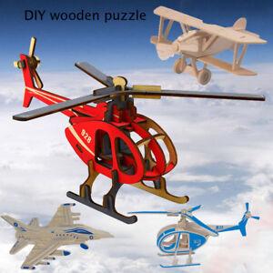 Color Wooden Car DIY 3D Airplane Model Building Toys Puzzle Dinosaur Game