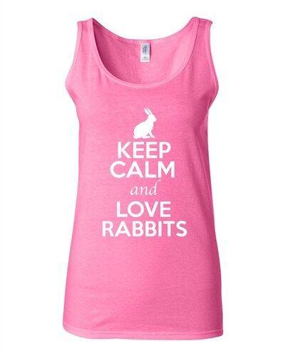Junior Keep Calm And Love Rabbits Bunny Pet Animal Lover Sleeveless Tank Tops