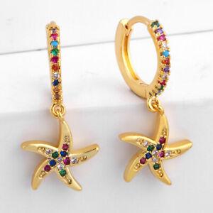 Betsey-Johnson-starfish-earrings-multi-color-enameling-GT-fish-hooks-NWT