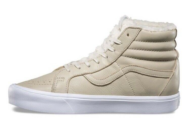 * Vans Mens 8.5 Womens Reissue 10 Sk8 Hi Lite Reissue Womens Sherpa Cement True White Sneakers be080c