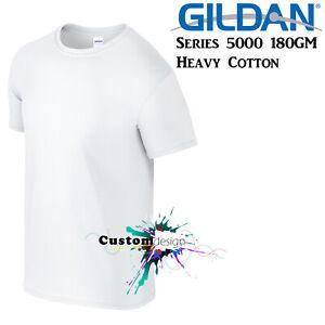 Gildan-T-SHIRT-White-Basic-tee-S-M-L-XL-2XL-XXL-Men-039-s-Heavy-Cotton-Premium