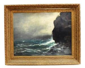 19TH-CENTURY-OIL-ON-PANEL-STORMY-SEASCAPE-ROLLING-WAVES-ROCKY-COAST