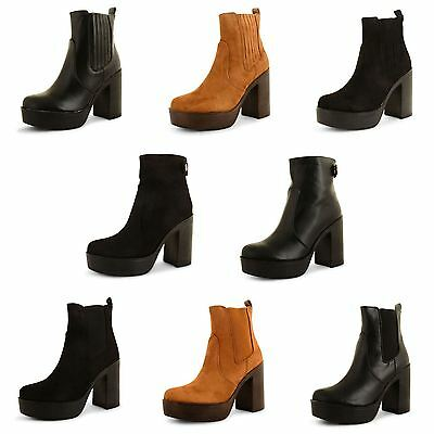 Womens New Ladies Chelsea Chunky Block Heel Grip Sole Platform Ankle Boots Shoes