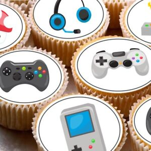 24-Edible-cupcake-fairy-cake-toppers-decorations-gaming-gamer-xbox-PS-DS-games