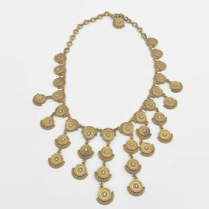Matte-Gold-Tone-Rhinestone-Bib-Statement-Necklace