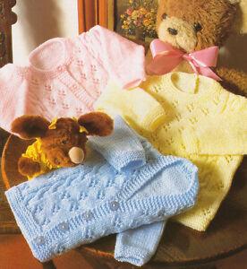 Baby-Cardigans-amp-Sweater-Cable-amp-Eyelet-Pattern-16-034-24-034-DK-Knitting-Pattern